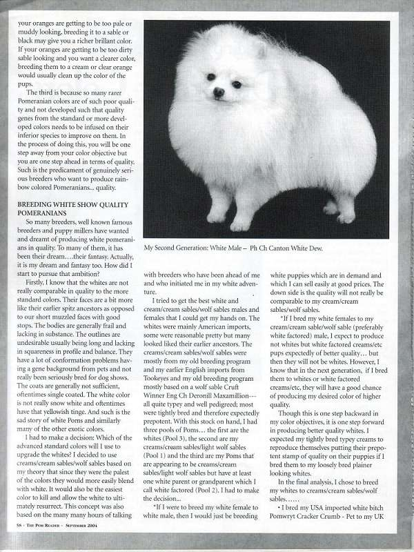 2004 September Pom Reader The Joy Of Breeding Pomeranians In